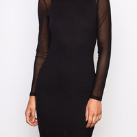 CREPE BODYCON DRESS WITH MESH SLEEVES