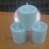 Mottled Aqua Vanilla soy votive candles, vegan friendly candles