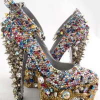 White Pumps / High Heels - Spiked Out Crystal Stripper High   UsTrendy