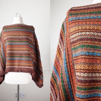 Vintage Bohemian Sweater Cape | 70s Knit Poncho Vintage Cape 70s Cape Blanket Coat Hippie Boho Fringed Shawl Hipster Retro Ethnic Southwest