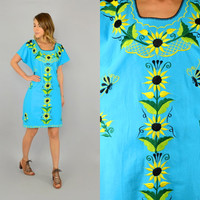 80's SUNFLOWER + BUTTERFLY Mexican bohemian hippie ethnic EMBROIDERED Turquoise Dress w/ tie back, medium-large