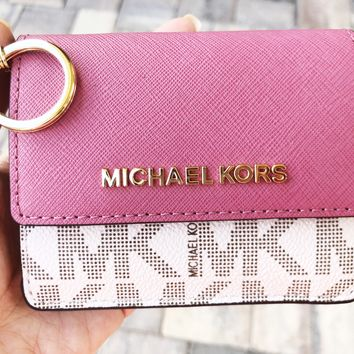 Michael Kors Jet Set Card Holder Key Ring Chain ID Vanilla Tulip