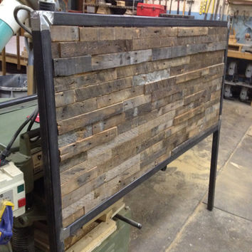 Reclaimed Wood and Steel Queen Sized Headboard