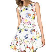 QZ2045 New Fashion Ladies' sweet floral print Dress vintage cute O-neck sleeveless casual slim brand dress plus size