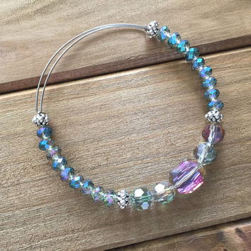 Iridescent Adjustable Beaded Bangle Bracelet // Alex and Ani Style Bangle
