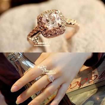 CJUN 2014 new Fashion 18K high density alloy  Ladies Diamond Ring ,Princess Elegant Jewelry  Diamond Austrian ring, = 1958339908