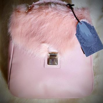 NEW Faux Fur Square Backpack Pink with inside pocket