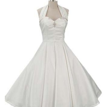 50s  Style Tea Length Wedding Dress-Ivory 1950s Vintage  Inspired Halter Sweetheart Dress