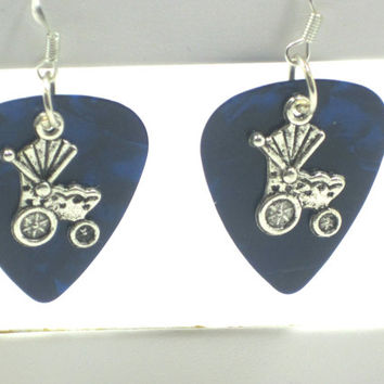 Baby Stroller Fender Guitar Pick Earrings Upcycled Recycled