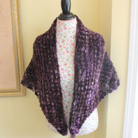 Ready to ship/Gorgeous Sweet April Purple HANDMADE KNITTED CHENILLE Wrap/Stole/Shawl/Shrug