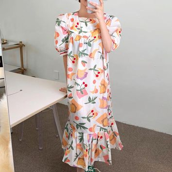 summer new kores fashion clothes Fruit Print Square Collar Loose Puff Sleeve Dress loose long feminina dresses QJ649