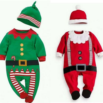 Infant Baby Santa or Elf Christmas Costume Outfit Set