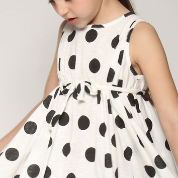 little girl dress, Black and white polka dot dress, Twirly dress for girls, Bridesmaid dress, little girl clothing, twirly dress,nukile