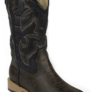 Roper Youth Boot Western Sqtoe Faux Leathr Sole Boots Brown And Black Faux Sq. Toe