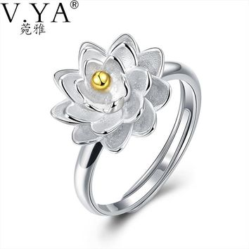 100% 925 Sterling Silver Ring Romantic Flower S925 Solid Silver Rings for Women Jewelry VYA 925-sterling-silver-ring R11