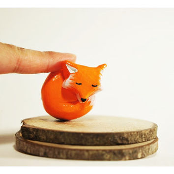 Fox Totem Polymer Clay Sculpture // limited edition