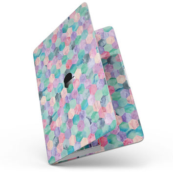 Purple Pink and Green Watercolor Hexagon Pattern - MacBook Pro without Touch Bar Skin Kit