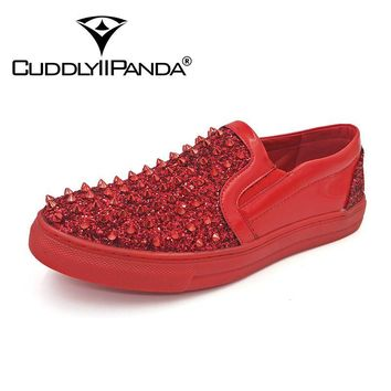CUDDLYIIPANDA 2017 New Arrival Men Fashion Sneakers Men Rivets Top Quality Loafers Punk Studded Rivet Spike Casual Shoes