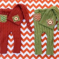 Newborn Boy Fall Upcycled Hat and Pants set, Chevron, Burlap, Wood Button, Photography prop, Twins