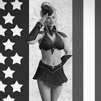 American themed vintage pin up girl - Airbrush Stencil