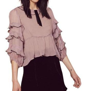 Women Butterfly Sleeve Female Slim Pullover Tops Sweet Ruffles Solid Blouses Shirts