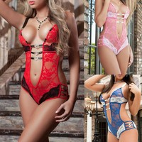 plus size XXXL sexy lingerie hot 3 color lace perspective deep_v neck teddy sexy erotic lingerie sexy babydoll lenceria