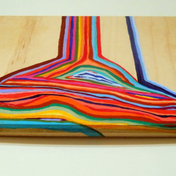 Dripping Colors original rainbow painting 6x8 by PreciousBeast
