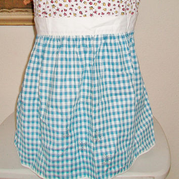 Blue Gingham Hostess Apron Checkered Bee Pattern Kitchen Cooking Entertaining Gifts For Her