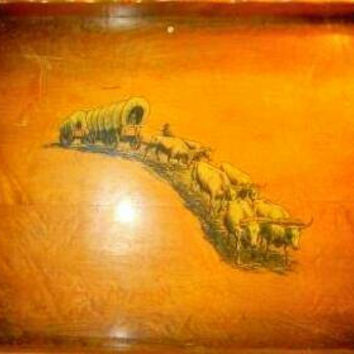Wooden Western Tray with Wagon and Oxens