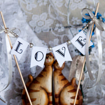 LOVE Wedding Cake Topper Banner with pearls and bows