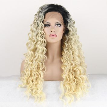 Synthetic Lace Front Wig Long Curly Black Root Ombre Blonde Two Tones Color Hair Wigs Heat Resistant For Women