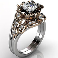 14k two tone white and rose gold diamond unusual unique flower engagement ring, wedding ring, flower engagement set ER-1099-5
