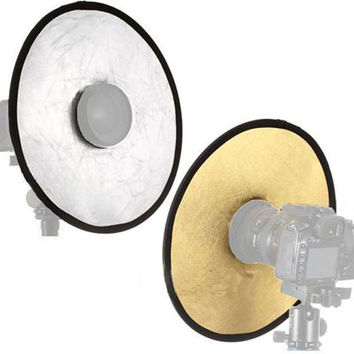 30cm Diameter 2 in 1 Collapsible Light Round Photography Hollow Reflector for Studio Photo Gold Silver Double Side Reflector