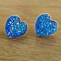 Druzy earrings- Blue heart drusy silver tone stud druzy earrings