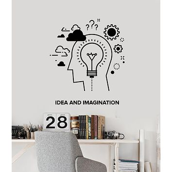 Vinyl Wall Decal Words Idea And Imagination Creation Gears Lamp Stickers Mural (g1844)