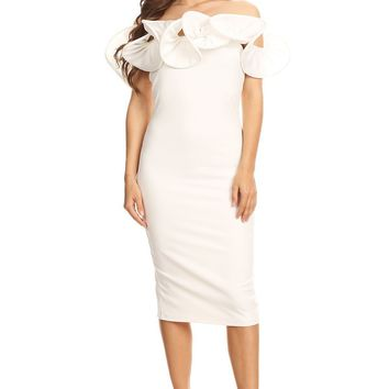 White Off Shoulder Ruffle Midi Dress