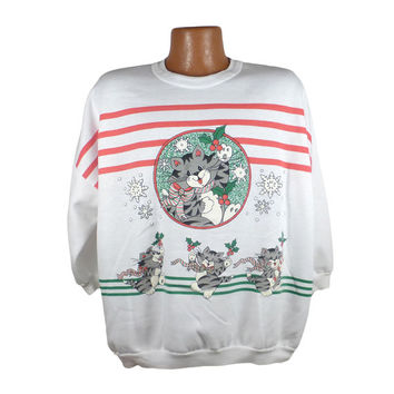 Ugly Christmas Sweater Vintage Sweatshirt Winter Scene Party Xmas Tacky Holiday 22 W- 42