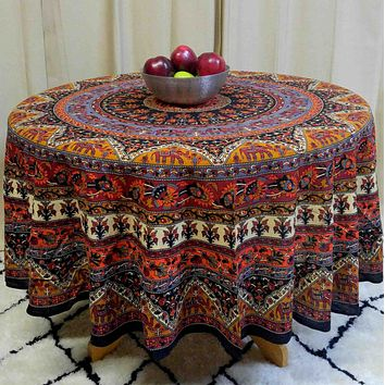 Cotton Mandala Floral 76 inch & 90 inch Tablecloth Round Earth for Dining Kitchen