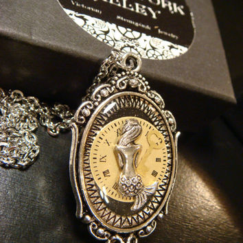 Mermaid with a Key  Over Recycled Watch Face Steampunk Pendant Necklace  - Upcycled Jewelry (1926)
