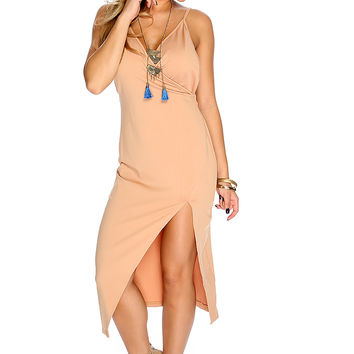 Camel V-neck Ruched Backless Party Dress