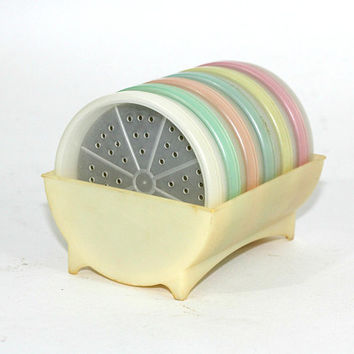 Vintage Tupperware Coasters Set #567 with Holder #566 Pastel Colors | Set 6 Wagon Wheel Coasters with Foam Inserts | Vintage 70's
