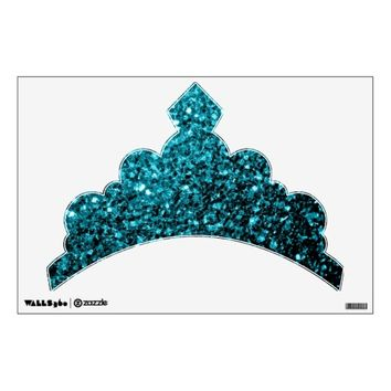 Beautiful Aqua blue sparkles Tiara Wall Decal by PLdesign
