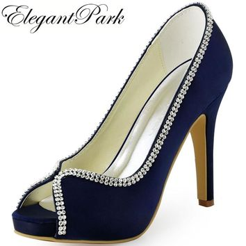 Woman Shoes Wedding bridal High heel platform Navy Blue Satin Lady female bridesmaid Prom Party evening Pumps Black EP11083