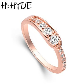 H:HYDE Popular Design Factory Price Size 7 8 9  Gold Color Rings Round White Cubic Zirconia Crystal Fashion Ring For Women Party