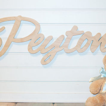 wooden name sign Baby Name Plaque DIY Large Unpainted Personalized nursery baby name wall hanging nursery wooden wall art above a crib