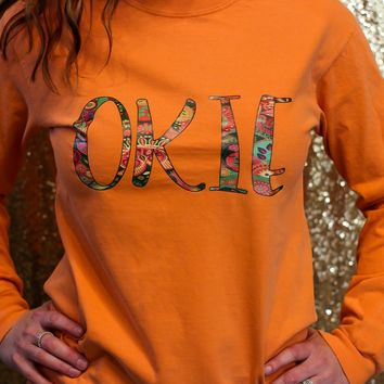 OKIE paisley comfort colors orange long sleeve t-shirt