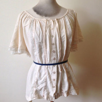 Vintage 1970's Cotton Gypsy Peasant Top - Size 22. Steampunk. Victorian.
