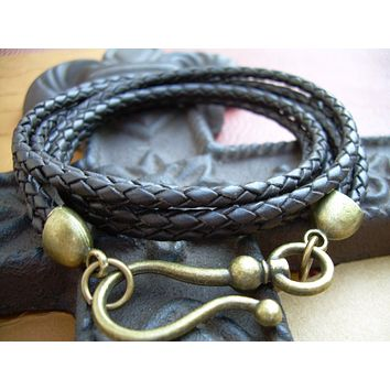Unisex Mens Womens  Antique Bronze Hook Clasp Brown Braided  Triple Wrap Leather Bracelet   Urban Survival Gear USA ABB03