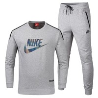 NIKE autumn and winter new sports cardigan hooded men's casual two-piece suit Grey