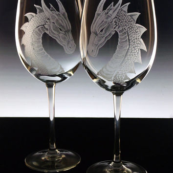 Dragon wine glasses, dragon glassware, dragon wedding theme , bridal glasses , Renissance wedding, fantasy dragon gift gift ideas blue clear